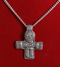 Grand anthropomorphe Viking Croix Amulette Pendentif sur Chaîne Fine Pewter