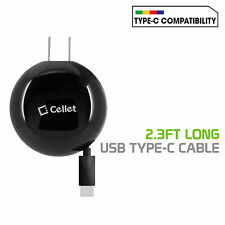 Cellet Retractable Type C Wall Charger- Samsung Note 10 9 Galaxy S20 5G S10 S9