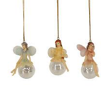 3 x Gisela Graham Assortiti da Parete Fata Decorazioni Albero di Natale 8.5cm