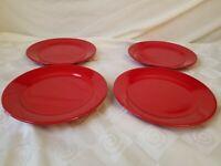 "Waechtersbach Germany Fun Factory Cherry Red Salad Plate 8 1/4"" NEW NOS Set of 4"