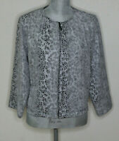 Chico's Size 1 (medium) faux snake skin zip up jacket blazer 3/4 length sleeves