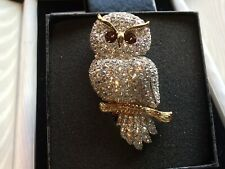 Stunning Joan Rivers Owl Brooch 3 Inches High With Box