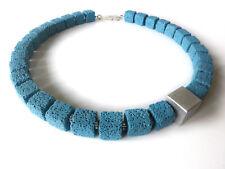 A Sign *Sky Stone* Würfel Kette/Halskette Lava & Aluminium Blau-Türkis-Silber