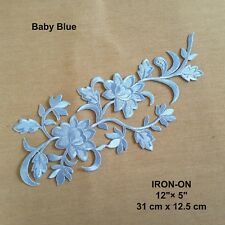Blue Floral Boho Sequined Iron-on Cosplay Patch Flower Embroidered Leaf Applique