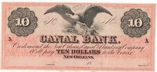 1860'S CIVIL WAR $10.00 CANAL BANK UNCIRCULATED NOTE-BEAUTIFUL FREE SHIPPING