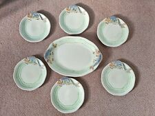 More details for rare clarice cliff wilkinson ltd leaping fish serving platter and 6 plates c1934