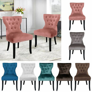 2pcs Crushed Velvet Dining Chair Buttoned High Back Chair Rivet Tuft Padded Seat