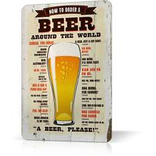 METAL TIN SIGN BEER AROUND THE WORLD RETRO RUSTED Vintage Poster Decor Home Bar