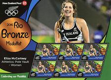 New Zealand NZ 2016 MNH Rio Bronze Medal Eliza McCartney 6v M/S Olympics Stamps