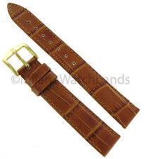 16mm Hirsch Duke Alligator Grain Genuine Leather Light Brown Watch Band Regular