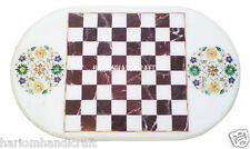 4'x2' White Marble Dining Chess Table Top Marquetry Mosaic Inlay Home Arts H2477