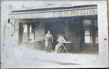 French Restaurant/Cafe Terrace & Two Women 1915 Realphoto Postcard- Street Scene