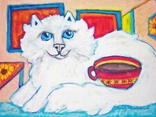 Tiffany Cat Drinking Coffee Asian Semi Longhair Collectibles 8 x 10 Art Print