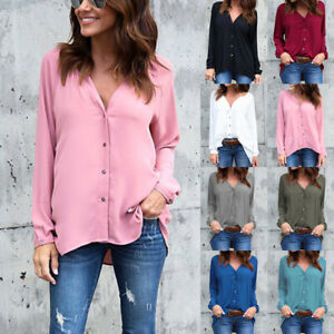 UK Womens Chiffon Pure Shirt Blouse Long Sleeve Buttons Work Ladies Loose Tops