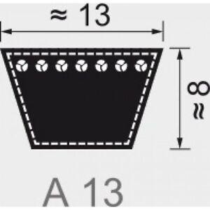 Keilriemen Profil A 13 x 8 mm nach DIN2215  381 mm - 5330 mm