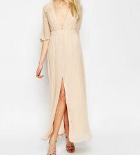 Branded Plunge Neck Pleated Flutter Sleeve Chiffon Maxi Dress UK 8/EU 36/US 4