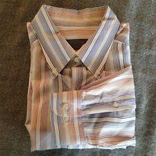 Talbots Mens Large White Long Sleeve Shirt w/Blue Brown Orange stripes