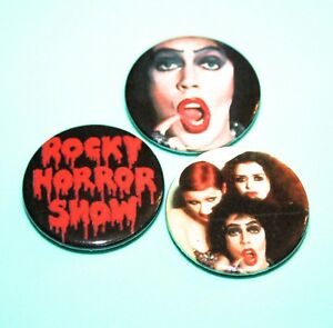 SET OF 3 ROCKY HORROR PICTURE SHOW TIM CURRY DRAG BUTTON PIN BADGES