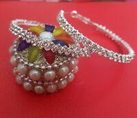 5cm Crystal Hoop Earrings Diamante Bridal Rhinestone Silver Bling Wedding Prom