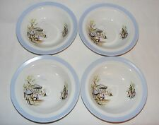 VINTAGE MID CENTURY MODERN ALFRED MEAKIN GLO WHITE LADY & POODLE SOUP BOWL SET