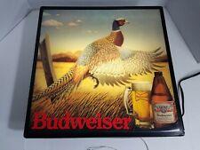 Vintage Budweiser Pheasant Light Bud Beer Hunting Sign 1987 Lights Up!