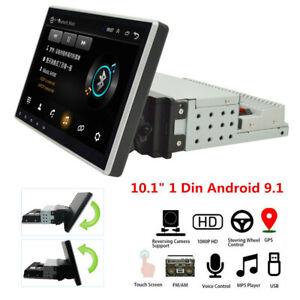 "Rotatable 1Din 10.1"" Android 9.1 Car Stereo Radio GPS Navigation Wifi No DVD"