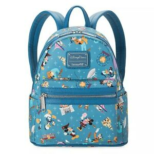 NWT! Loungefly Mickey Mouse and Friends Mini Backpack Disneyland Parks blue