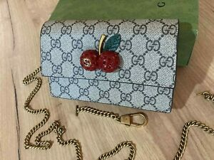 GUCCI Women Mini Bag Cherry GG Beige Canvas Gold Chain Made in Italy Authentic