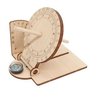 Foldable Equatorial Sundial Clock Kids Wooden Toy Scientific Model Sundials