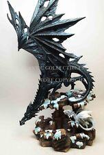 "Large Black Dragon with Little White Dragon Snow Decor Figurine 18"" Tall Statue"