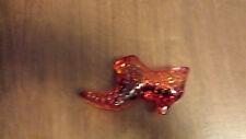 Fenton Art Glass Hobnail Slipper Reddish/Orange