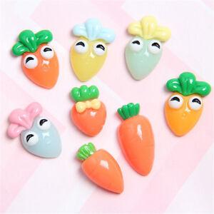 20PCS Assorted Resin Cartoon Carrot Embellishment Radish Flatback Cabochon Decor