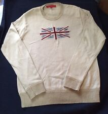 Fcuk Jeans Men's Sweater British Flag Vintage Knit Pull Over Cream Blue Red