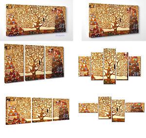Quadro Moderno Klimt Albero della Vita Stampa su Tela Canvas Vernice Pennellate