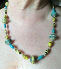 Original collier de perles résine multicolores psychédélique bijou vintage 287