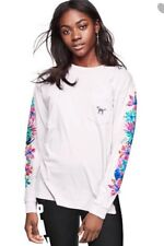 Victoria's Secret PINK Tee Shirts Floral Bling Long Sleeve Pocket T Small White