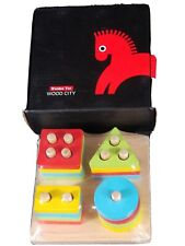 WOOD CITY Wooden Sorting & Stacking Toys for Toddlers, Educational Shape