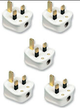 20x 13AMP UK 3 PIN FUSED WHITE MAINS PLASTIC PLUG 13A PACK SOCKET BULK BS1363