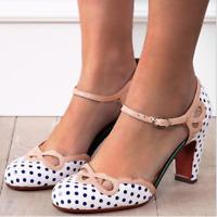 Womens Ankle Strap Mary Jane Block Heels Polka Dot Round Toe Sandal Fashion Shoe
