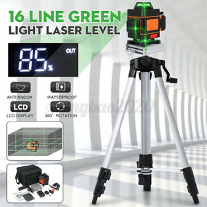 4D 16 Line Green Laser Level Auto Self Leveling 360° Rotary Cross Measuring K