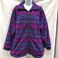 Vintage HEAD Skiwear Aztec Tribal Fleece Zip Up Jacket Vtg 90s Medium