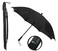 Travel Light Ultraleicht Regenschirm winddicht & Carry Schultergurt-Schwarz
