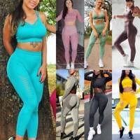 Seamless Yoga Set Anti-Cellulite Scrunch Leggings Sports Pants Gym Suit Jumpsuit