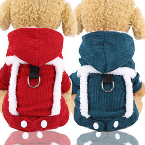 Winter Warm Coral Fleece Dog Jacket Hoodie Coat Soft  Puppy Cat Jacket Outfits