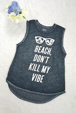 Freeza Soft Women's Gray Burnout Tank T-Shirt Beach Don't Kill My Vibe Size L