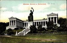 Monaco Munich Baviera vecchio AK 1908 BAVARIA gloria Halle MONUMENTO STATUA Monument