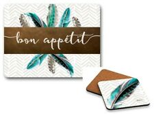 Set of 6 Blue Feather Bon Appetit & Blue Feather Coasters Cork Back Kelly Lane