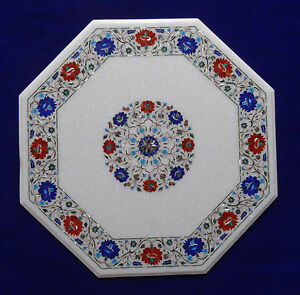 "24"" Marble Center Table Top Semi Precious Stone Carnelian Lapis For Home Decor"