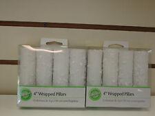 "WILTON WHITE EMBROIDERED 4"" WRAPPED PILLARS - SET OF 8 -CAKE DECORATING PILLARS"