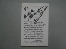 """JEANE   DIXON  (Died  in 1997)  Signed  2 1/2""""  x  4""""   Prayer/Creed   Card"""